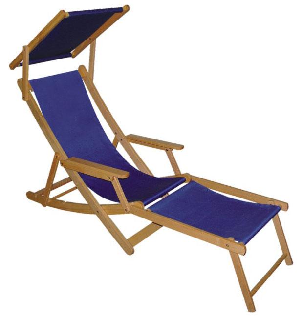 Holzliegestuhl RELAX mit Fußteil und Sonnendach