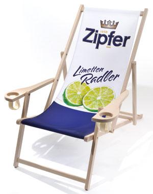 Holzliegestuhl Rhön mit Armlehne/Getränkehalter